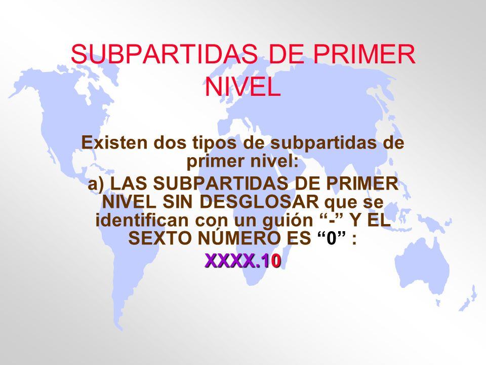 SUBPARTIDAS DE PRIMER NIVEL