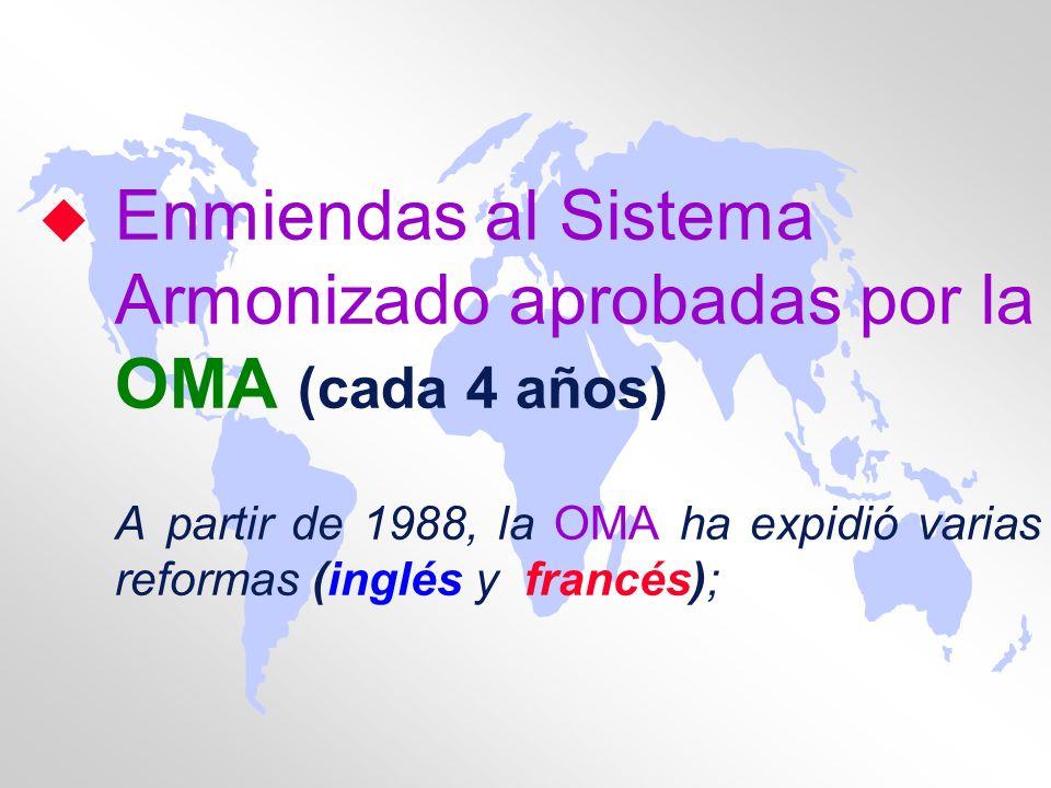 Enmiendas al Sistema Armonizado aprobadas por la OMA (cada 4 años)