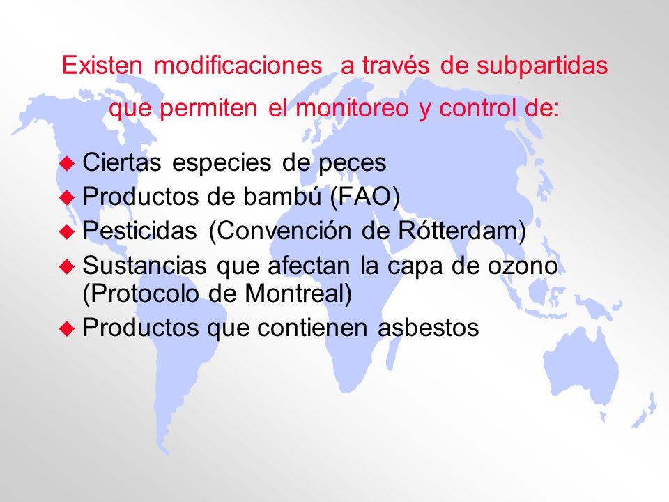 Existen modificaciones a través de subpartidas que permiten el monitoreo y control de: