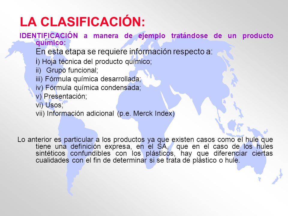 LA CLASIFICACIÓN: En esta etapa se requiere información respecto a: