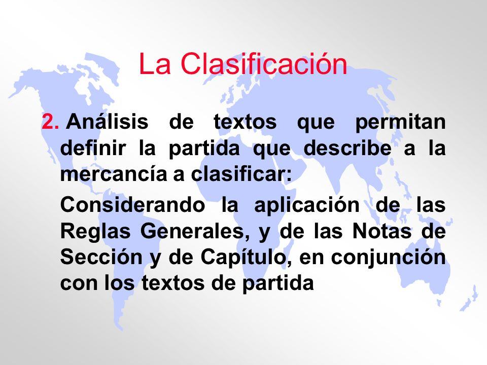 La Clasificación 2. Análisis de textos que permitan definir la partida que describe a la mercancía a clasificar: