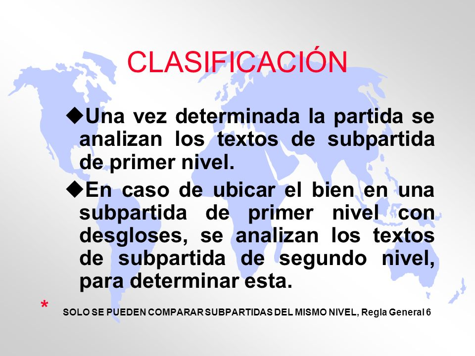 CLASIFICACIÓN Una vez determinada la partida se analizan los textos de subpartida de primer nivel.