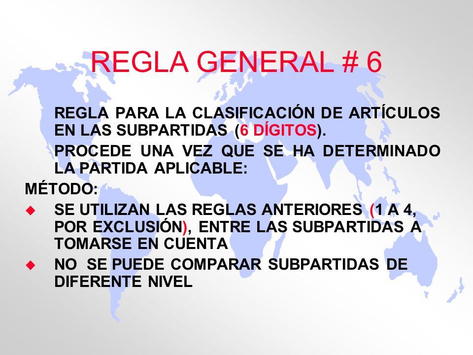 REGLA GENERAL # 6 REGLA PARA LA CLASIFICACIÓN DE ARTÍCULOS EN LAS SUBPARTIDAS (6 DÍGITOS).