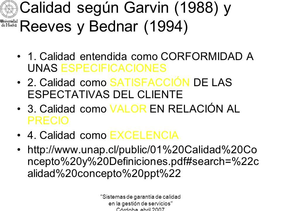 Calidad según Garvin (1988) y Reeves y Bednar (1994)