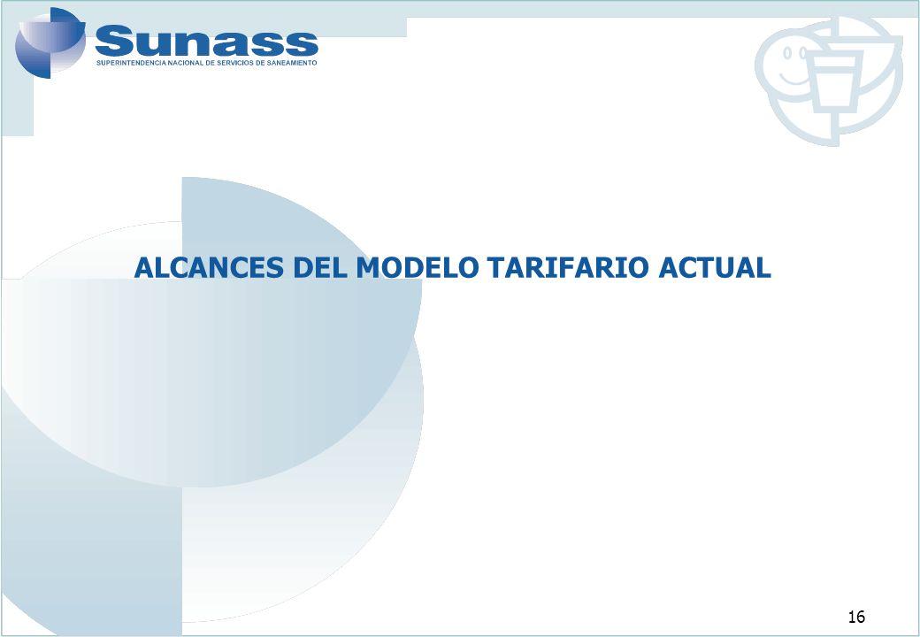 ALCANCES DEL MODELO TARIFARIO ACTUAL