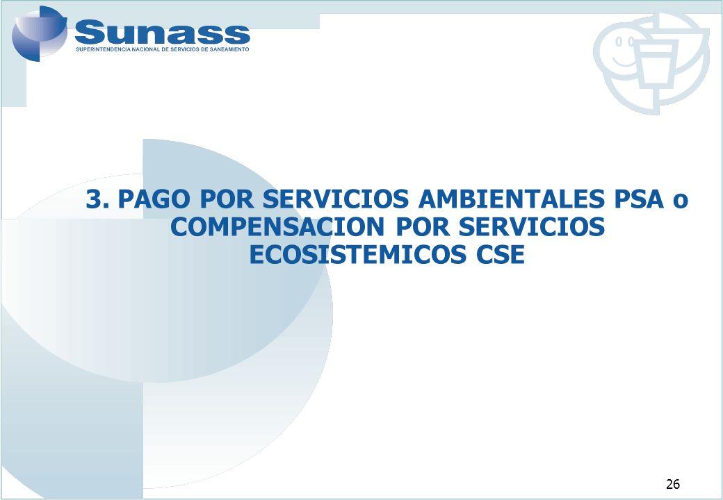 3. PAGO POR SERVICIOS AMBIENTALES PSA o COMPENSACION POR SERVICIOS ECOSISTEMICOS CSE