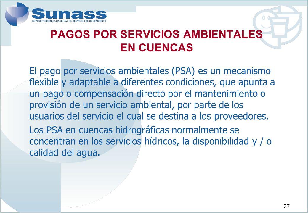 PAGOS POR SERVICIOS AMBIENTALES EN CUENCAS