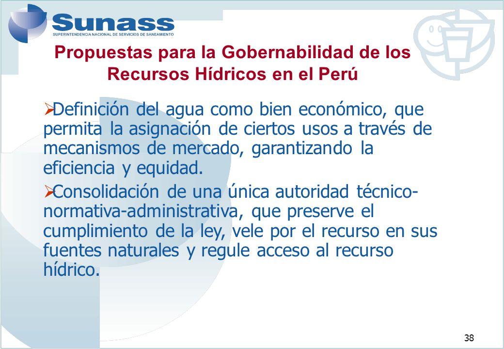 Propuestas para la Gobernabilidad de los Recursos Hídricos en el Perú