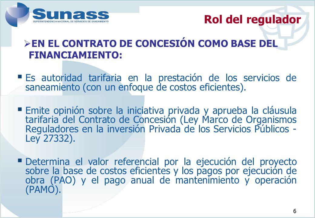 Rol del regulador EN EL CONTRATO DE CONCESIÓN COMO BASE DEL FINANCIAMIENTO: