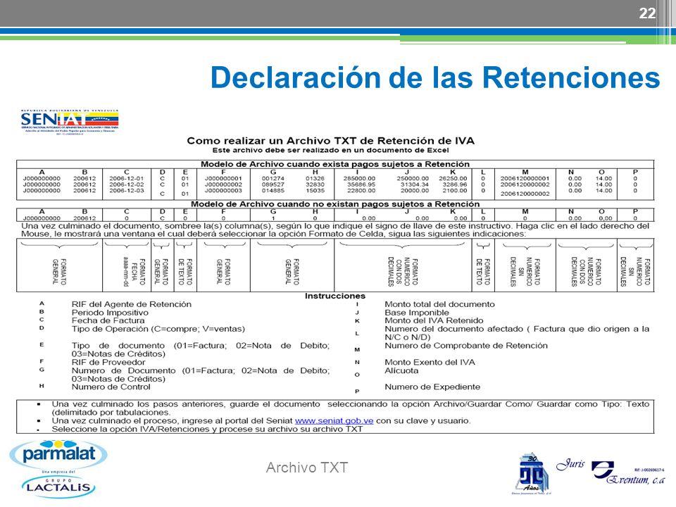 Declaración de las Retenciones
