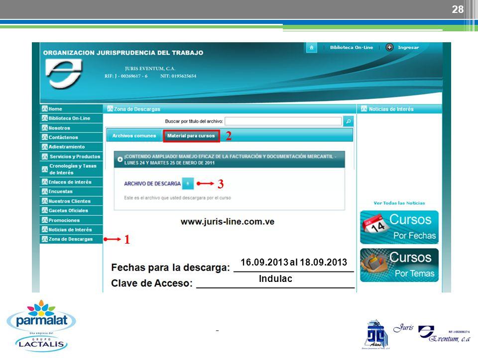 2 3 1 16.09.2013 al 18.09.2013 Indulac -