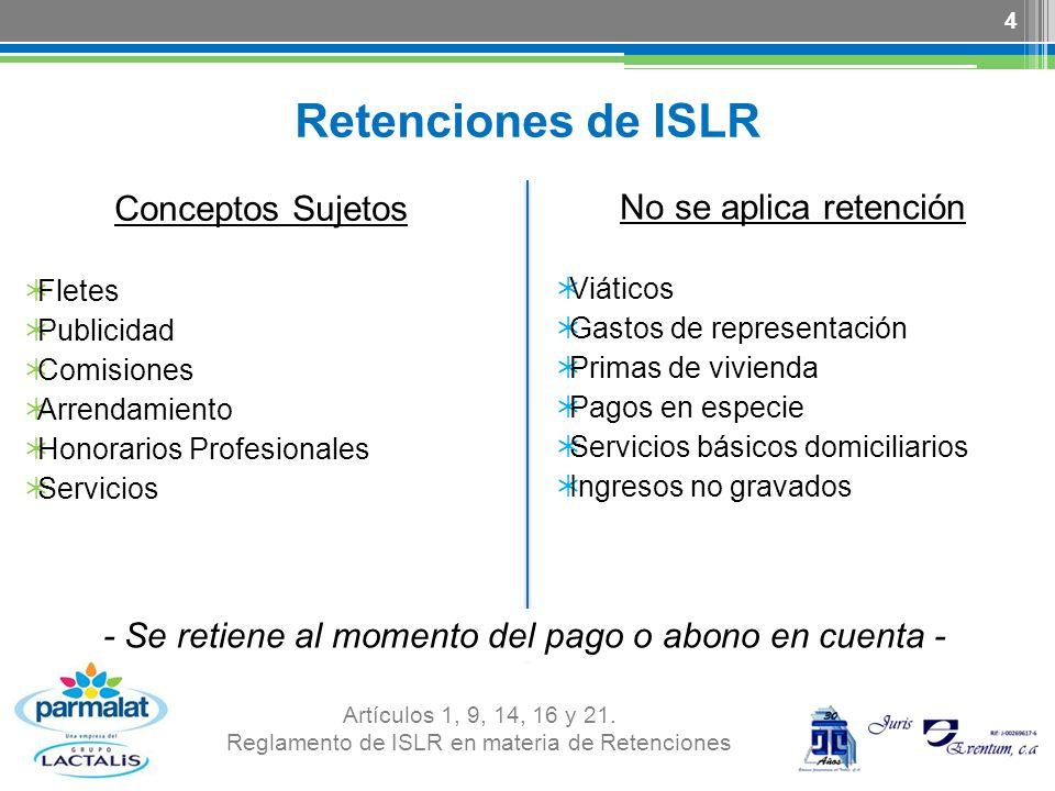 Reglamento de ISLR en materia de Retenciones