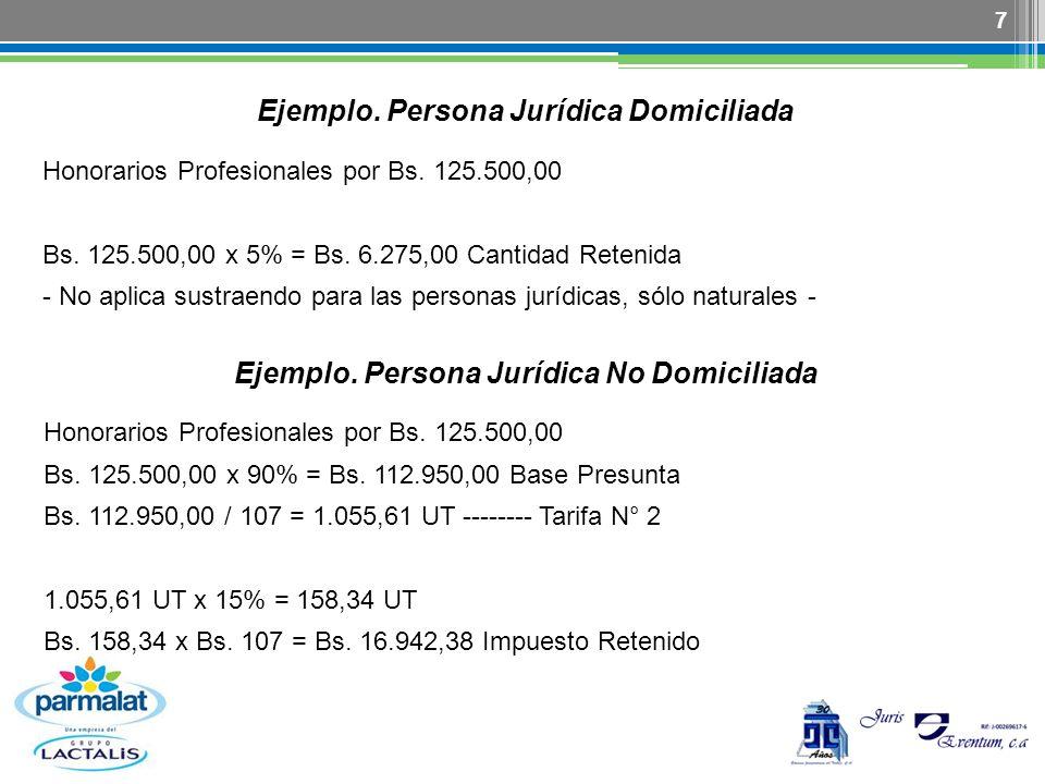 Ejemplo. Persona Jurídica Domiciliada
