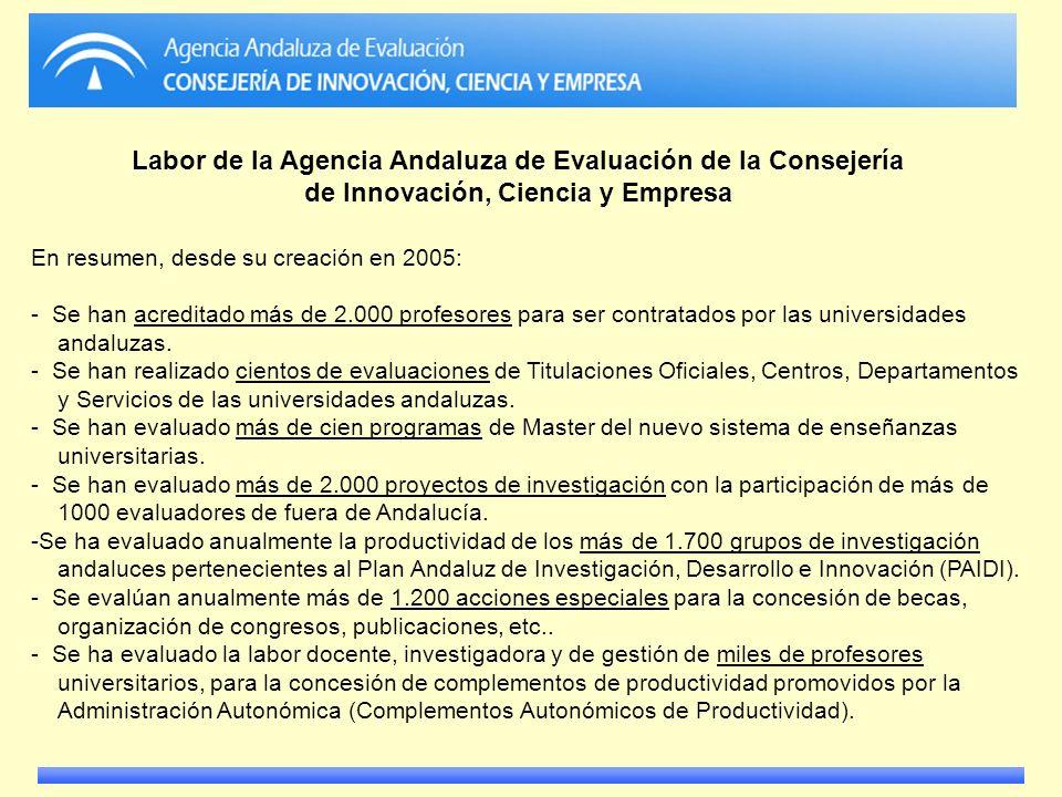 Labor de la Agencia Andaluza de Evaluación de la Consejería de Innovación, Ciencia y Empresa