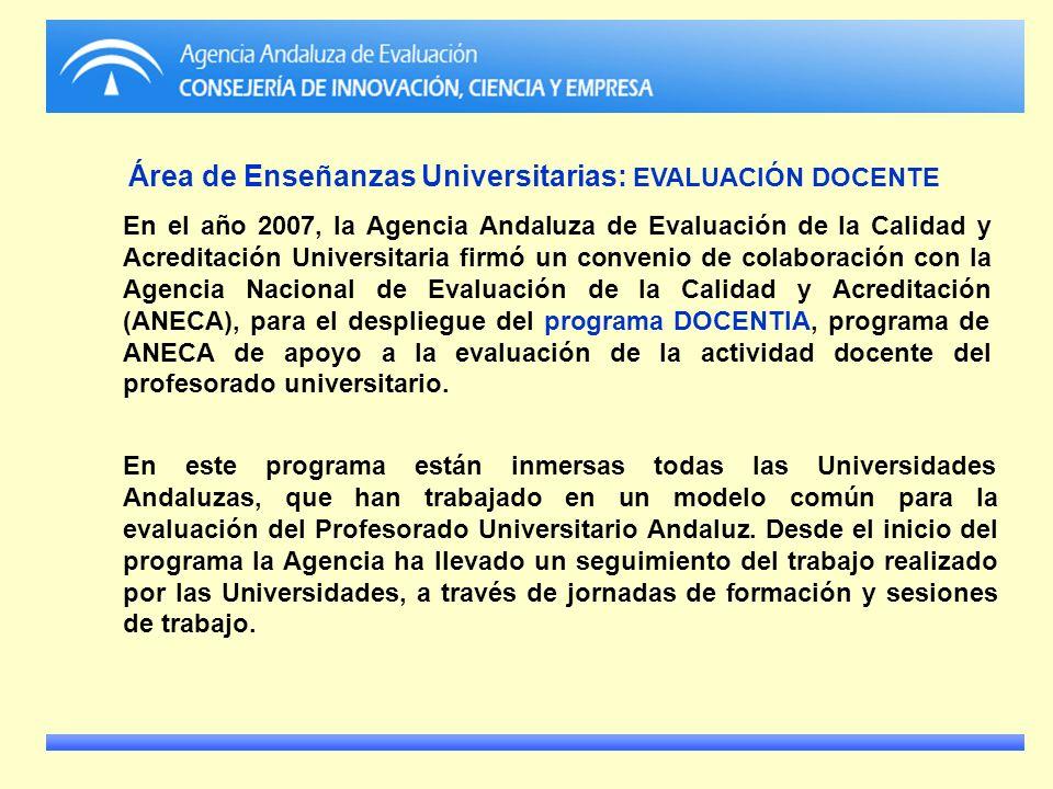 Área de Enseñanzas Universitarias: EVALUACIÓN DOCENTE