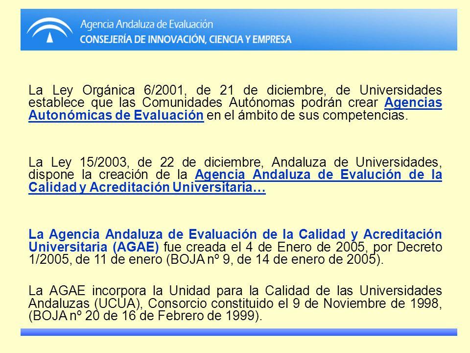 La Ley Orgánica 6/2001, de 21 de diciembre, de Universidades establece que las Comunidades Autónomas podrán crear Agencias Autonómicas de Evaluación en el ámbito de sus competencias.