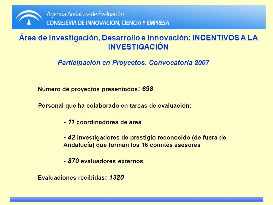 Participación en Proyectos. Convocatoria 2007