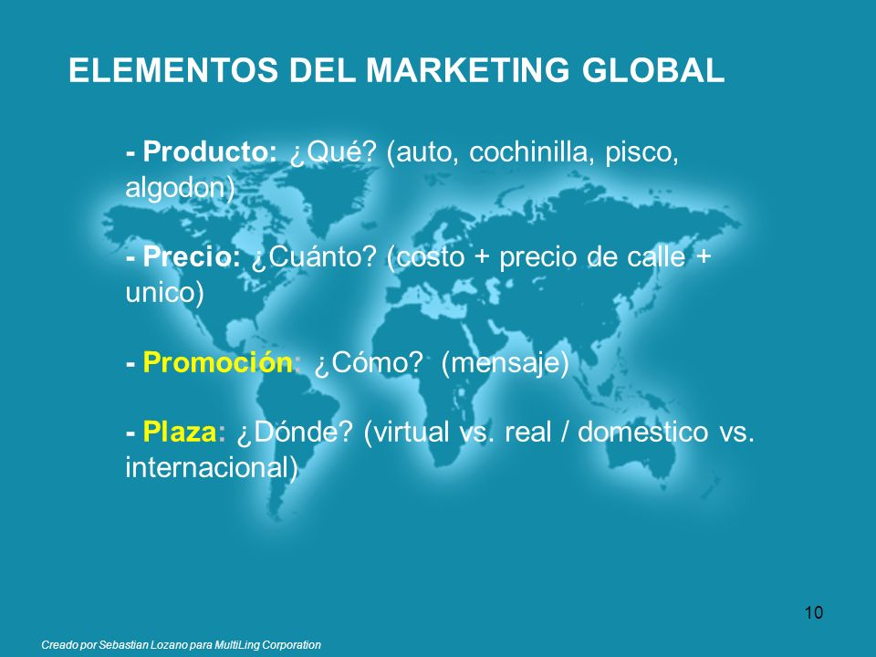 ELEMENTOS DEL MARKETING GLOBAL