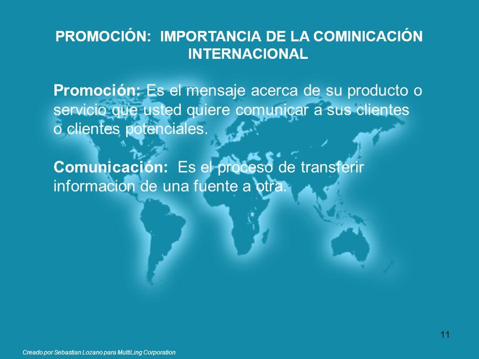 PROMOCIÓN: IMPORTANCIA DE LA COMINICACIÓN INTERNACIONAL