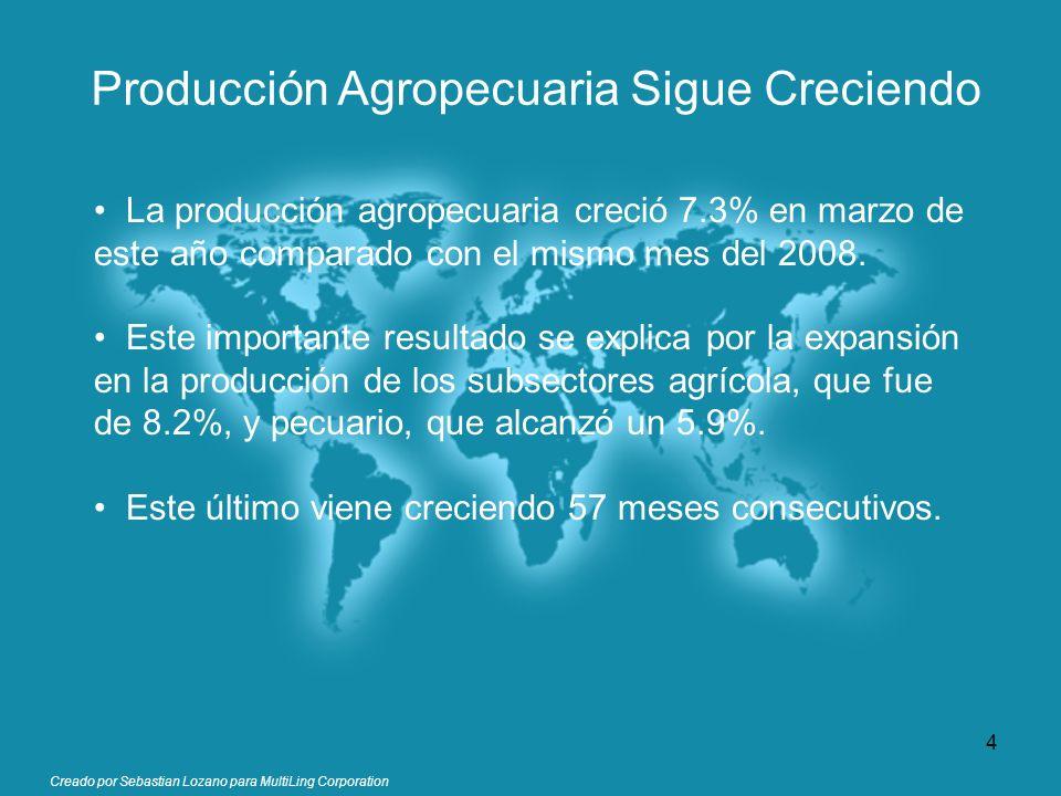 Producción Agropecuaria Sigue Creciendo