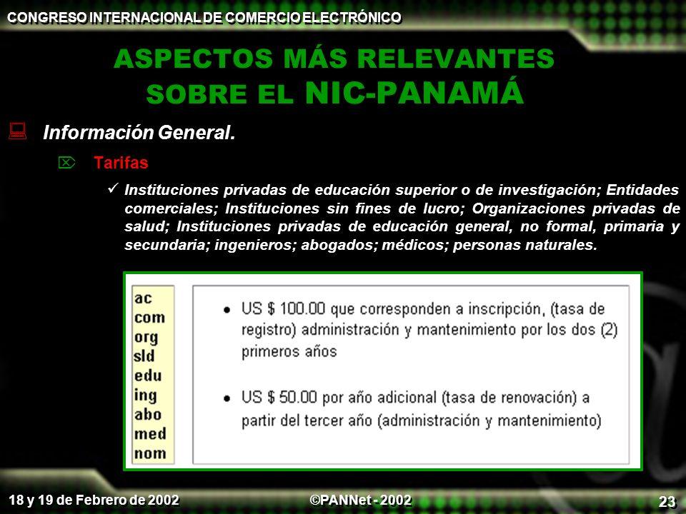 ASPECTOS MÁS RELEVANTES SOBRE EL NIC-PANAMÁ