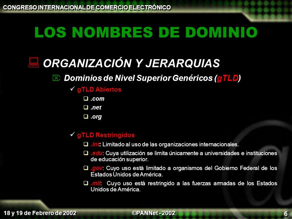 LOS NOMBRES DE DOMINIO ORGANIZACIÓN Y JERARQUIAS