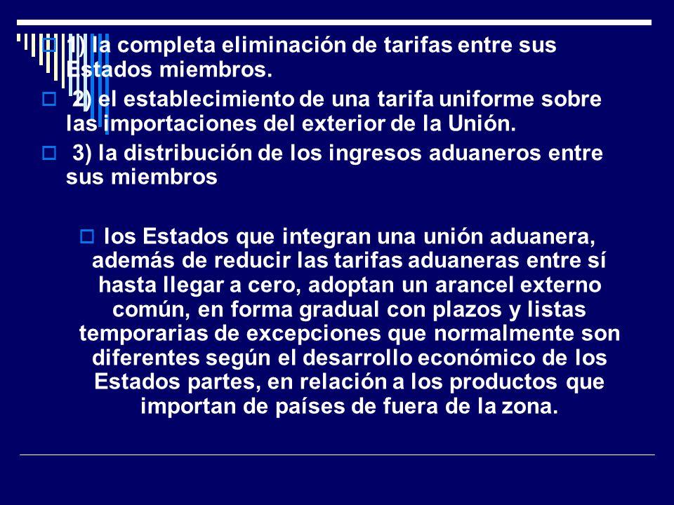 1) la completa eliminación de tarifas entre sus Estados miembros.