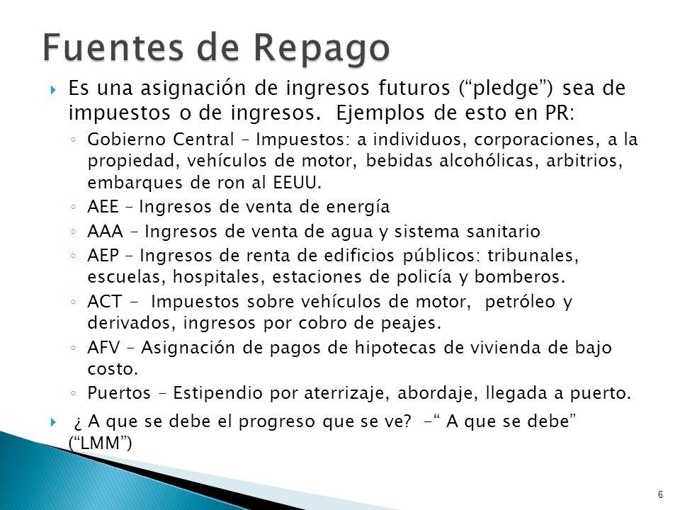 Fuentes de Repago Es una asignación de ingresos futuros ( pledge ) sea de impuestos o de ingresos. Ejemplos de esto en PR: