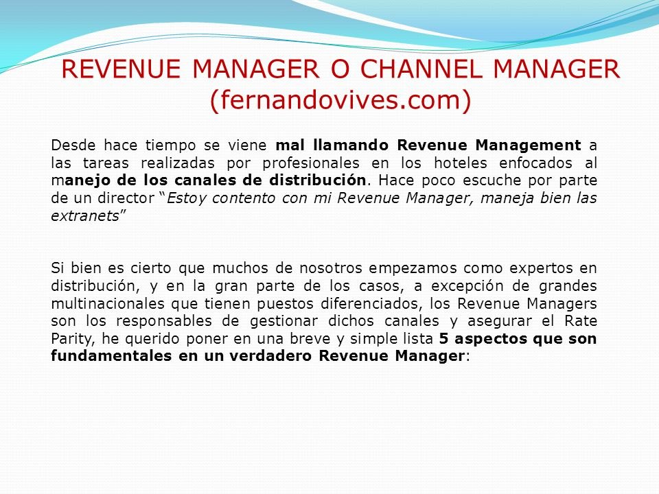 REVENUE MANAGER O CHANNEL MANAGER (fernandovives.com)