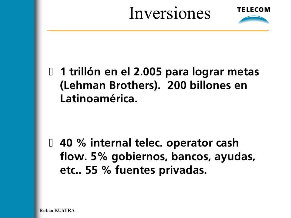 Inversiones 1 trillón en el 2.005 para lograr metas (Lehman Brothers). 200 billones en Latinoamérica.