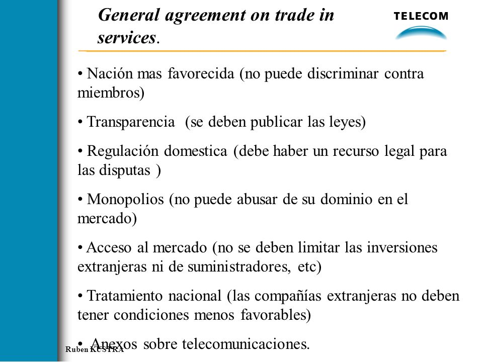 General agreement on trade in services.
