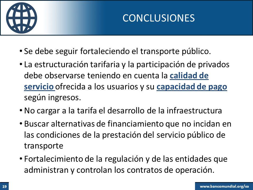 CONCLUSIONES Se debe seguir fortaleciendo el transporte público.