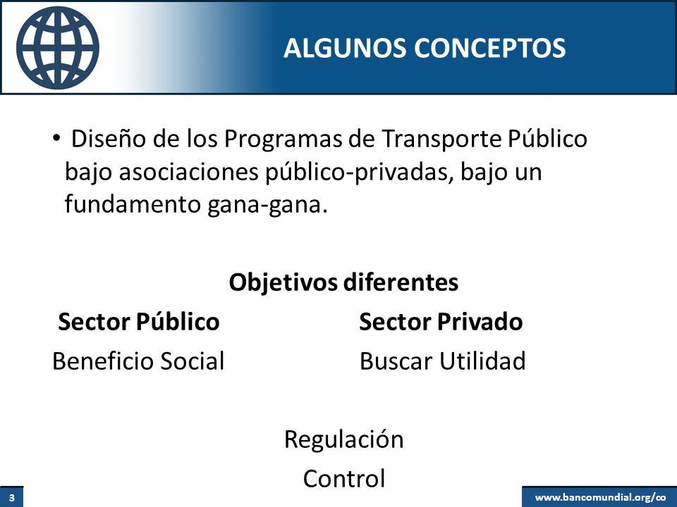 Algunos conceptos Diseño de los Programas de Transporte Público bajo asociaciones público-privadas, bajo un fundamento gana-gana.