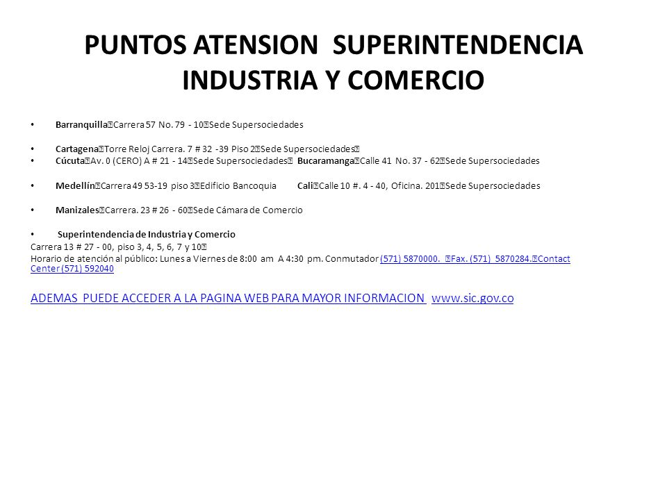 PUNTOS ATENSION SUPERINTENDENCIA INDUSTRIA Y COMERCIO