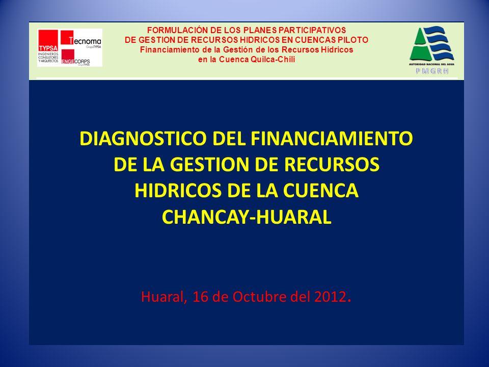DIAGNOSTICO DEL FINANCIAMIENTO DE LA GESTION DE RECURSOS HIDRICOS DE LA CUENCA CHANCAY-HUARAL Huaral, 16 de Octubre del 2012.