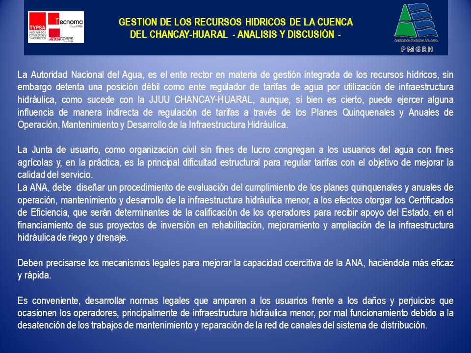 GESTION DE LOS RECURSOS HIDRICOS DE LA CUENCA DEL CHANCAY-HUARAL - ANALISIS Y DISCUSIÓN -