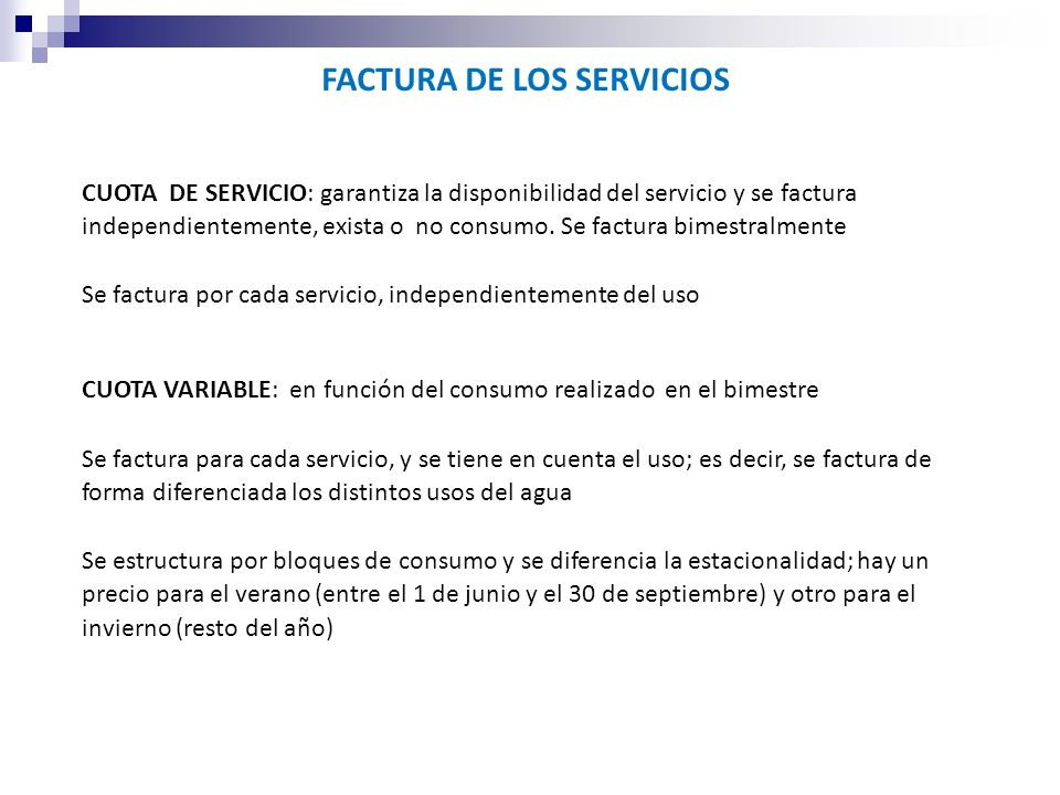FACTURA DE LOS SERVICIOS