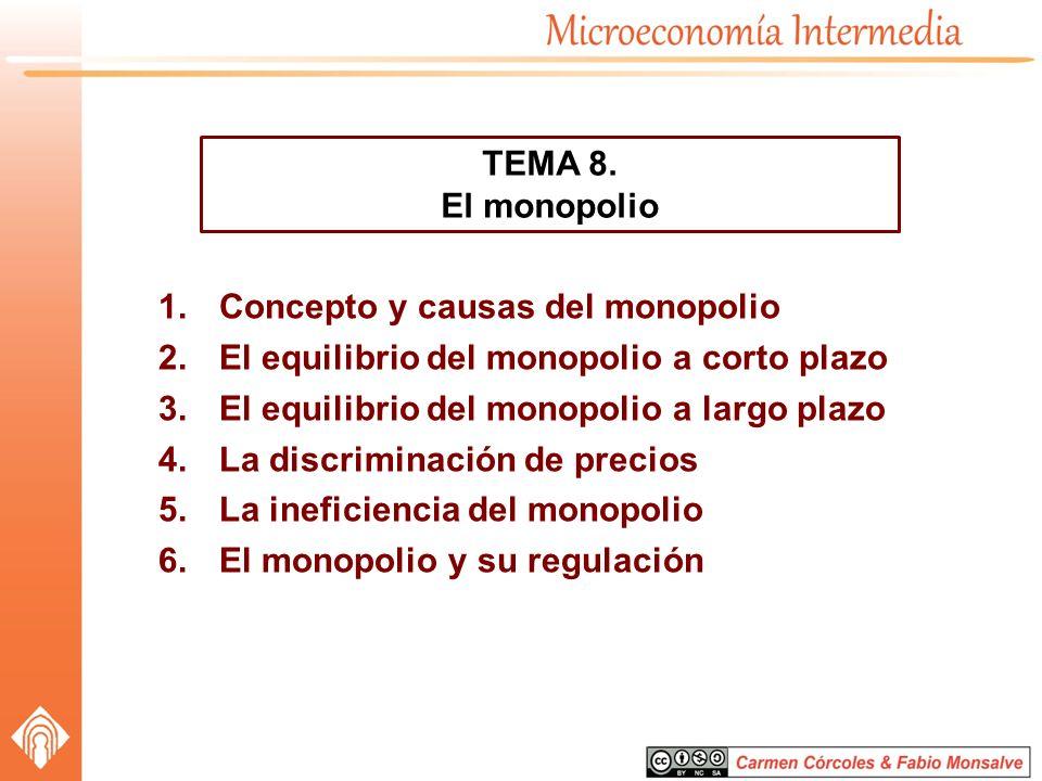 TEMA 8. El monopolio. Concepto y causas del monopolio. El equilibrio del monopolio a corto plazo.
