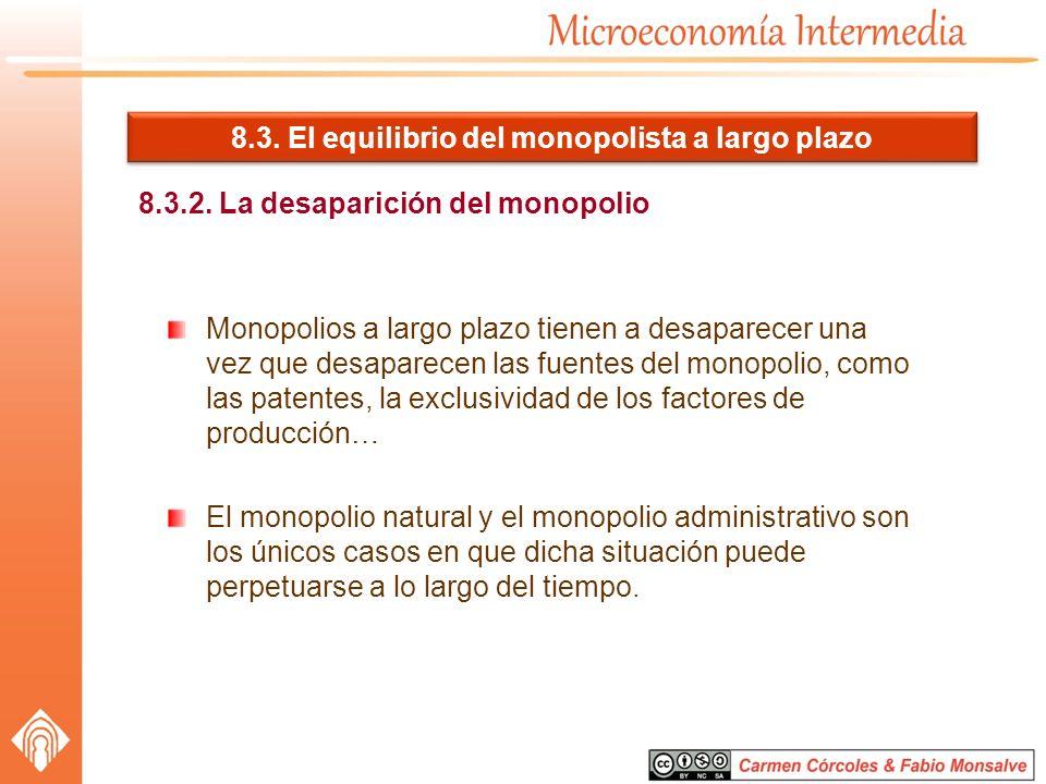 8.3. El equilibrio del monopolista a largo plazo