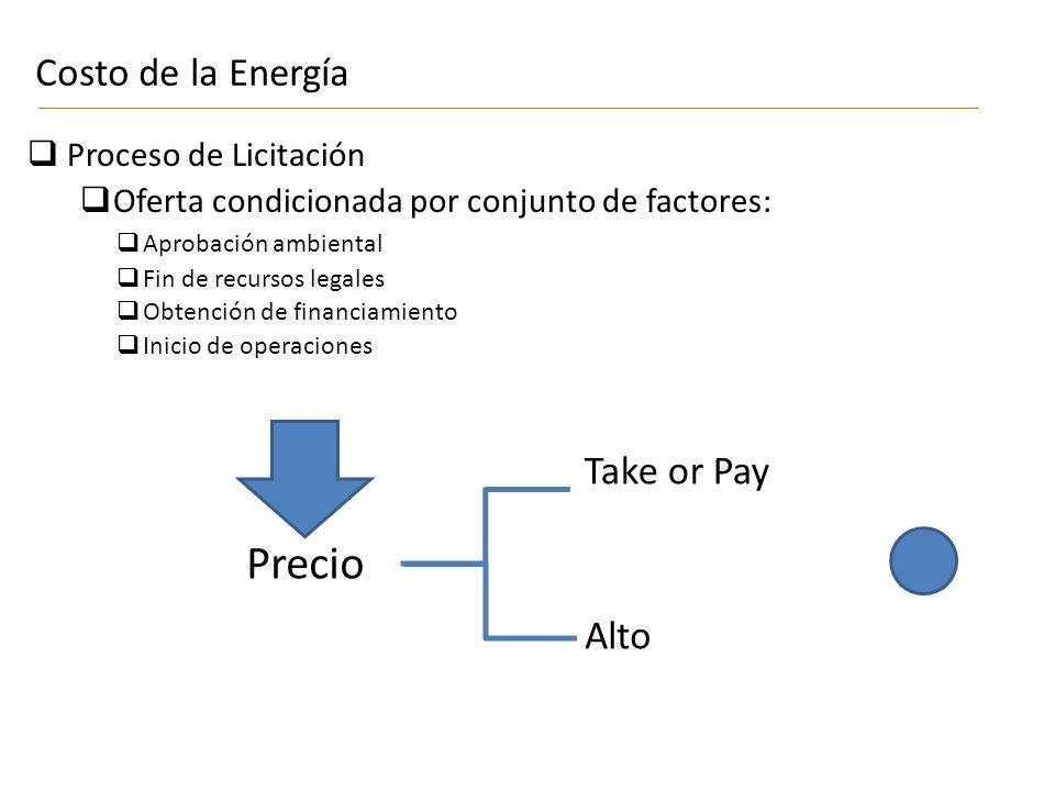Precio Costo de la Energía Take or Pay Alto Proceso de Licitación