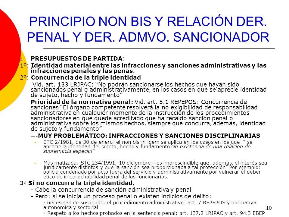 PRINCIPIO NON BIS Y RELACIÓN DER. PENAL Y DER. ADMVO. SANCIONADOR