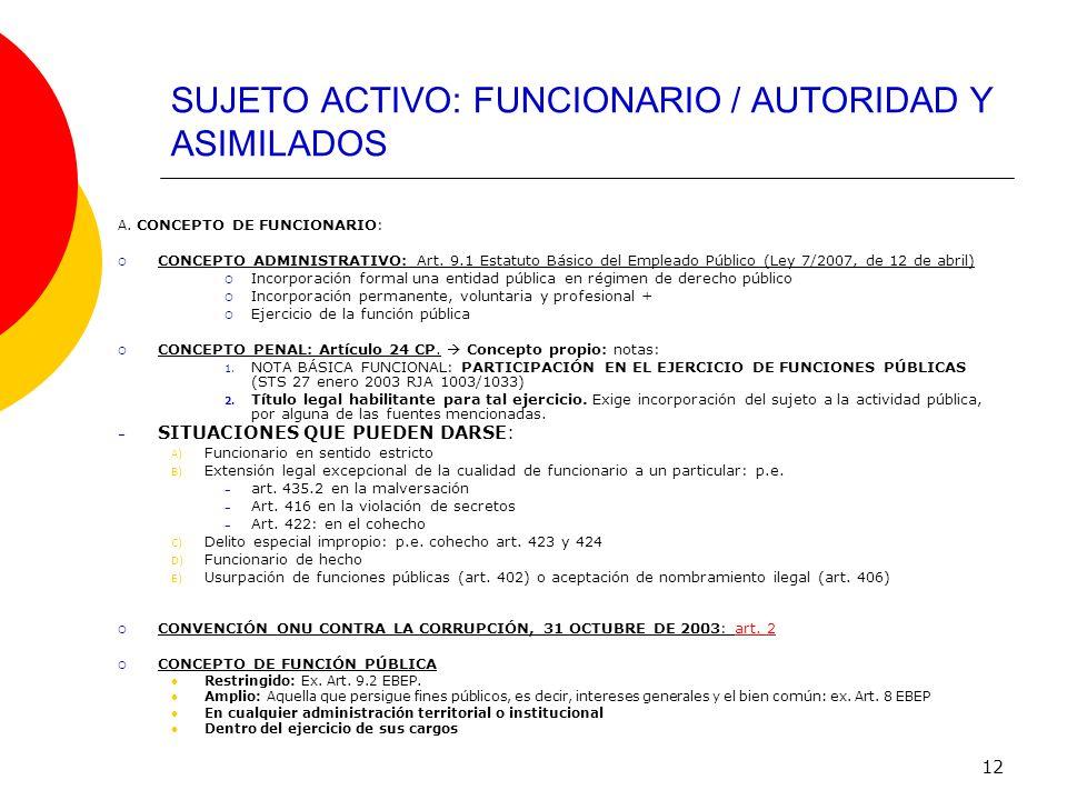 SUJETO ACTIVO: FUNCIONARIO / AUTORIDAD Y ASIMILADOS
