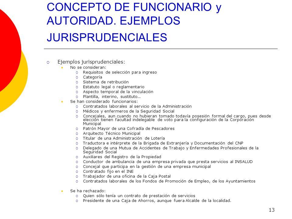 CONCEPTO DE FUNCIONARIO y AUTORIDAD. EJEMPLOS JURISPRUDENCIALES