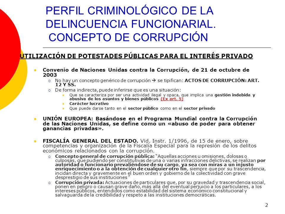 PERFIL CRIMINOLÓGICO DE LA DELINCUENCIA FUNCIONARIAL