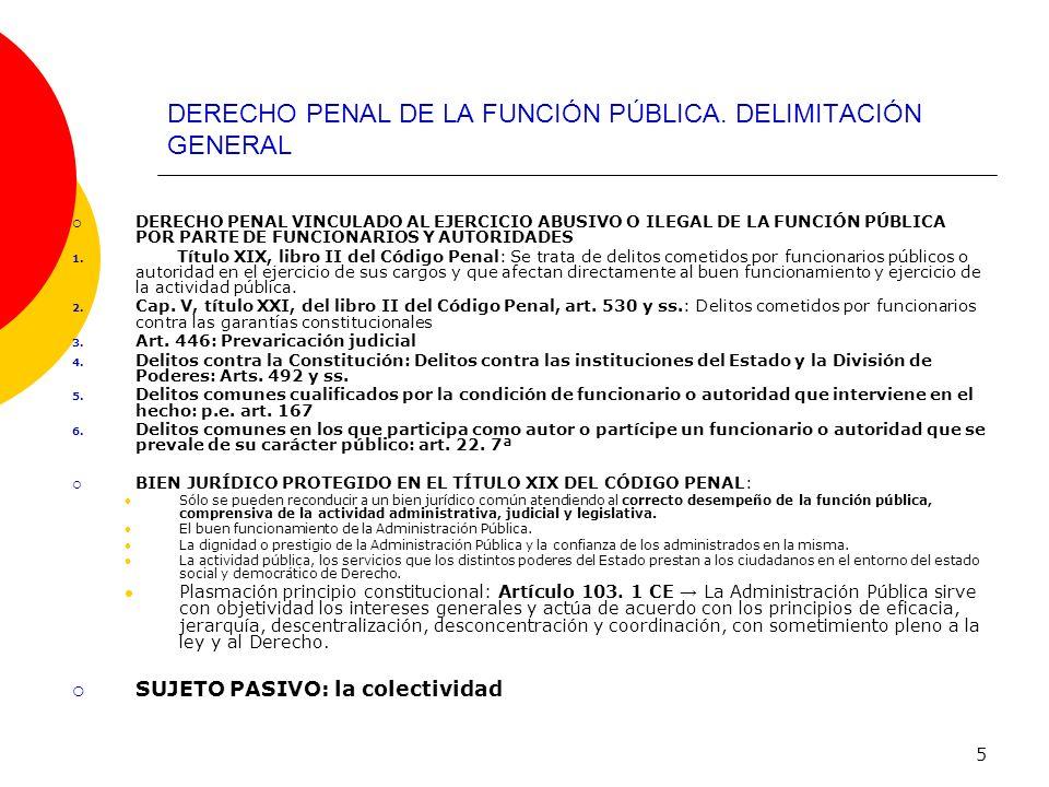 DERECHO PENAL DE LA FUNCIÓN PÚBLICA. DELIMITACIÓN GENERAL