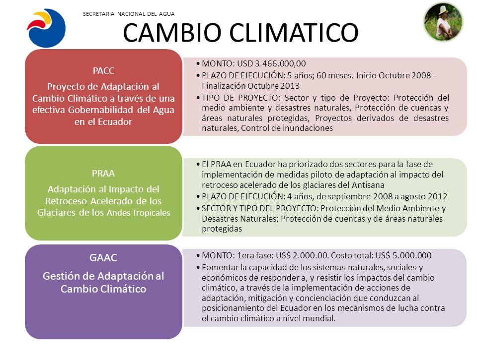 Gestión de Adaptación al Cambio Climático