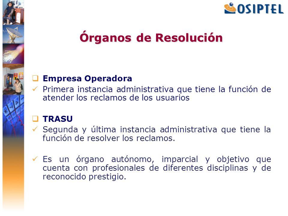 Órganos de Resolución Empresa Operadora