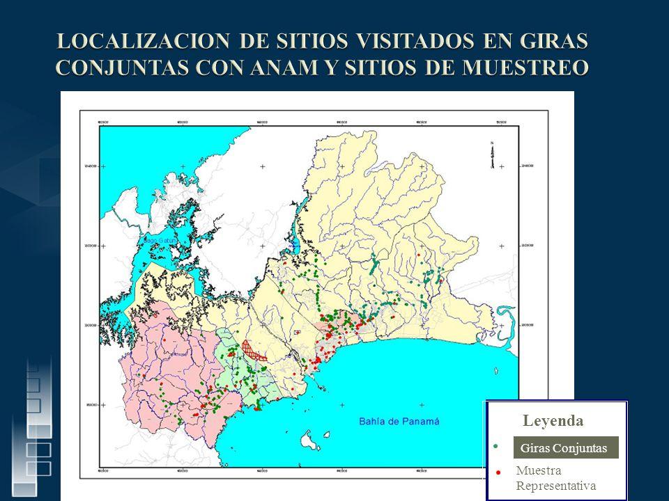 LOCALIZACION DE SITIOS VISITADOS EN GIRAS CONJUNTAS CON ANAM Y SITIOS DE MUESTREO