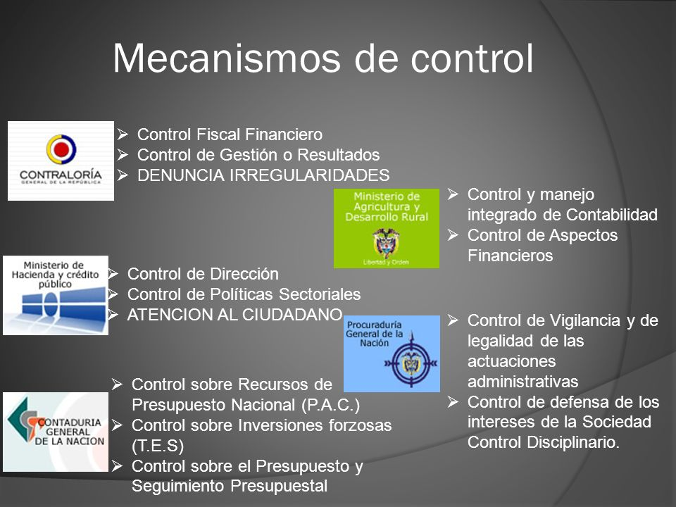 Mecanismos de control Control Fiscal Financiero