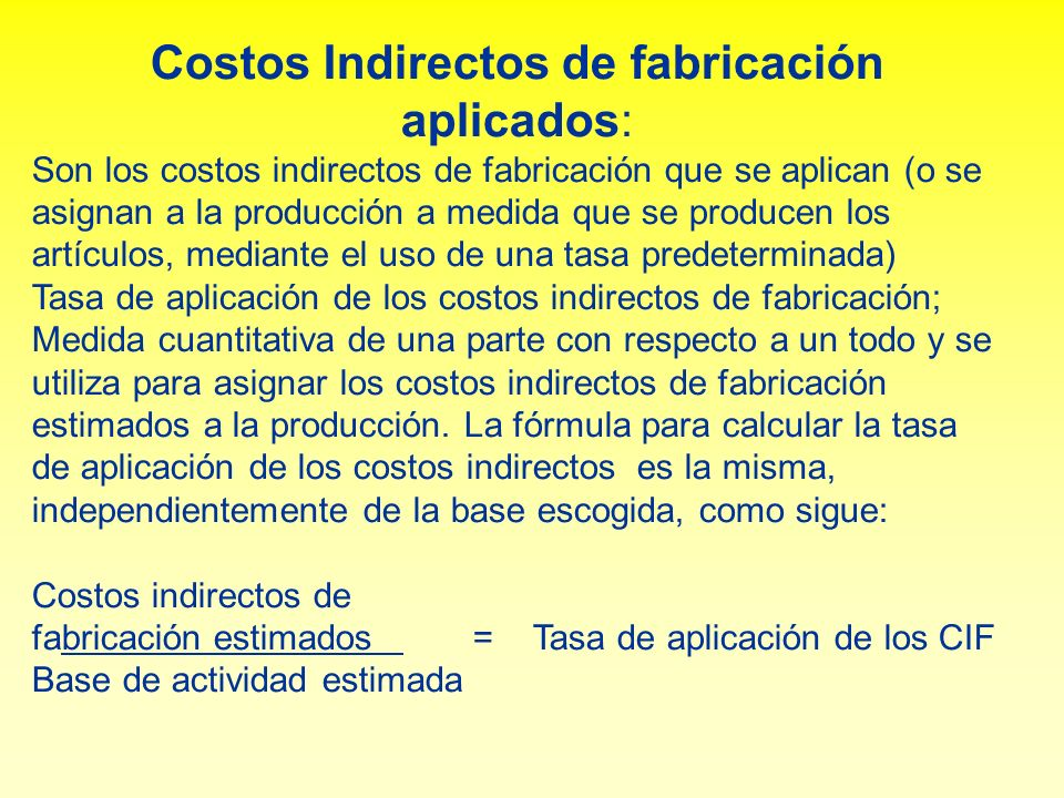 Costos Indirectos de fabricación aplicados: